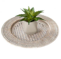"13"" Washed Shite Rattan Charger Set of 2"
