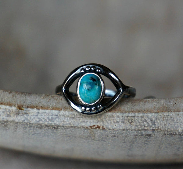 Evil Eye Good Luck Turquoise Ring, adjustable