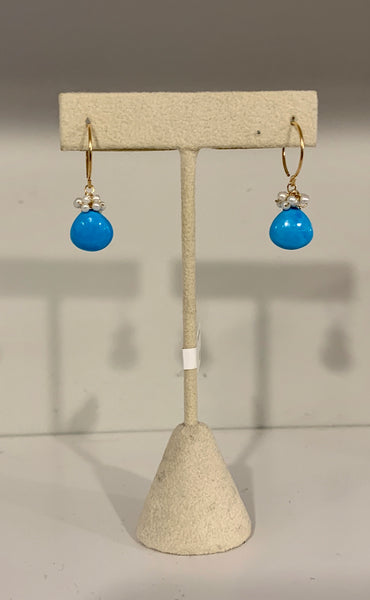 Turquoise and Pearl cluster Earring