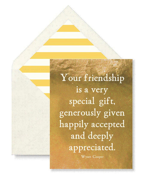 Your Friendship Is A Very Special Gift Single Folded Card