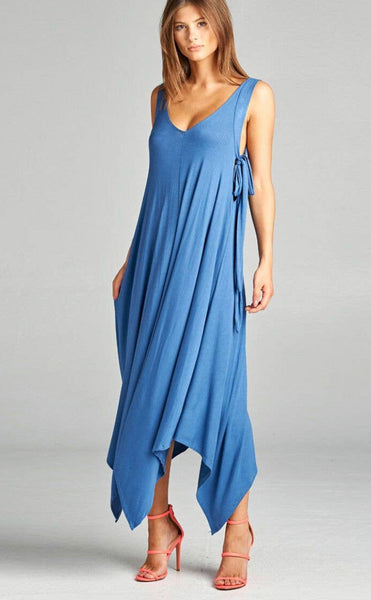 Asymmetrical Hem Dress with Tie- Indigo Blue