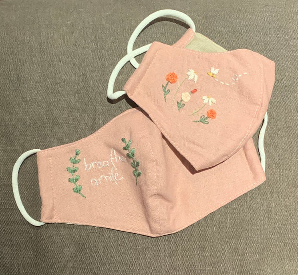Dusty Rose Hand embroidered Mask, Set of Two