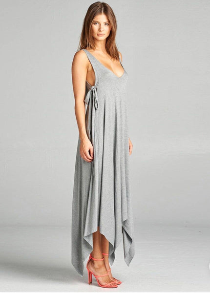 Asymmetrical Hem Dress with Tie- Grey