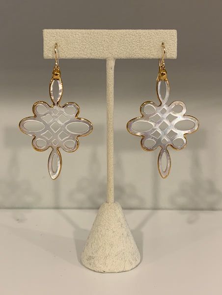 Long Lace Mother of Pearl Earrings