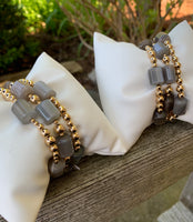 Set of 3 bracelets, Polished Grey Agate with Gold Filled Seamless Beads