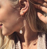 Gold Inverted Teardrop Hoops With white Druzy