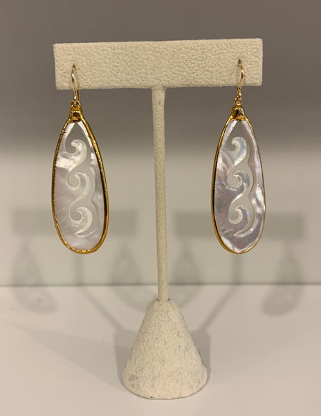 Wave Teardrop Mother of Pearl Earrings