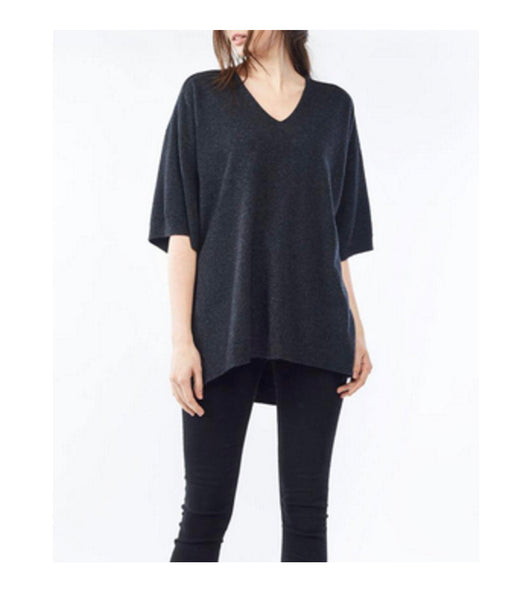 Black Cashmere V Neck Short Sleeve Sweater