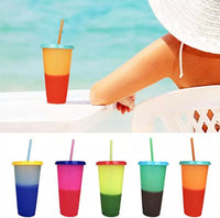 Color Changing Plastic Tumblers, 24 oz, 5 Reusable Cups with Lids and Straws