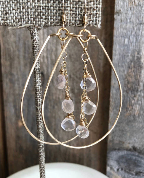 Gold Teardrop With Rose Quartz Triplet Earring