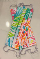 Set of Three Lilly Pulitzer Print Face Masks, Metal Nose Wire