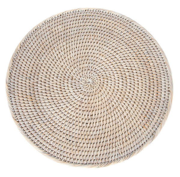 "14"" Washed White Rattan Charger Set of 2"