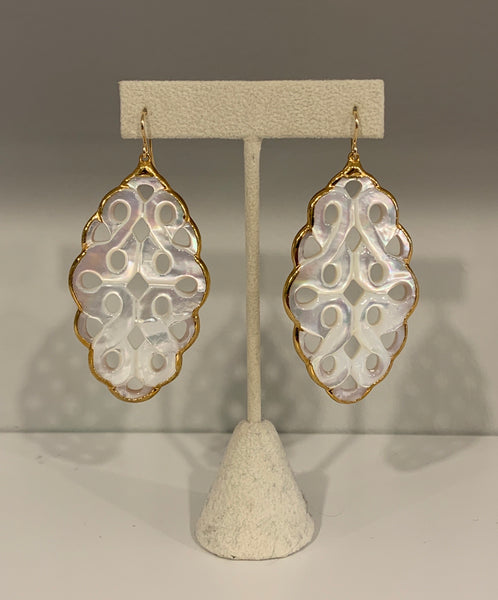 Scalloped Oval Long Mother of Pearl Earrings