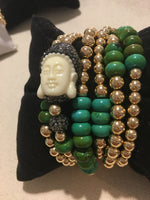 Buddha with Natural Turq Combo set/6 Gold Filled Seamless Bead Bracelet