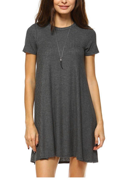 Short Sleeve Soft Ribbed Dress - Grey
