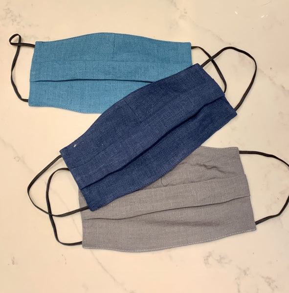 French 100% Linen Face Masks- Blues