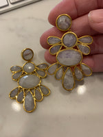 Satellite Moonstone Chandelier Earrings