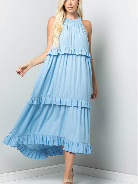 Sky Blue Tiered Ruffle Woven Midi Dress