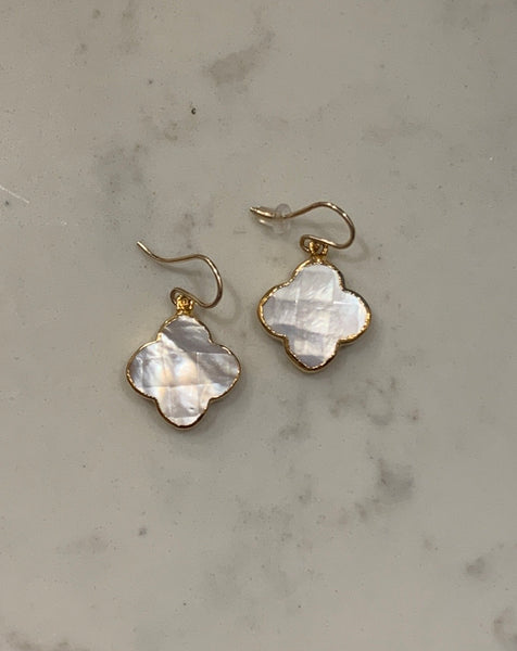 Solid Clover Mother of Pearl Earrings