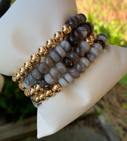 Natural Faceted Labradorite with 7mm Gold Filled Seamless Bead Bracelet