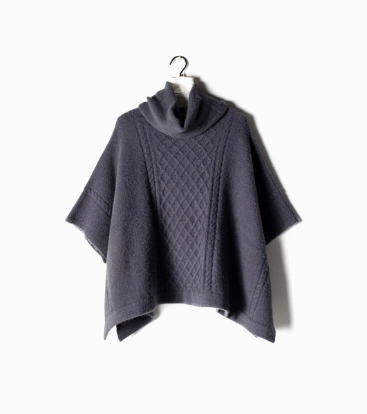 Midnight Cable neck turtleneck poncho