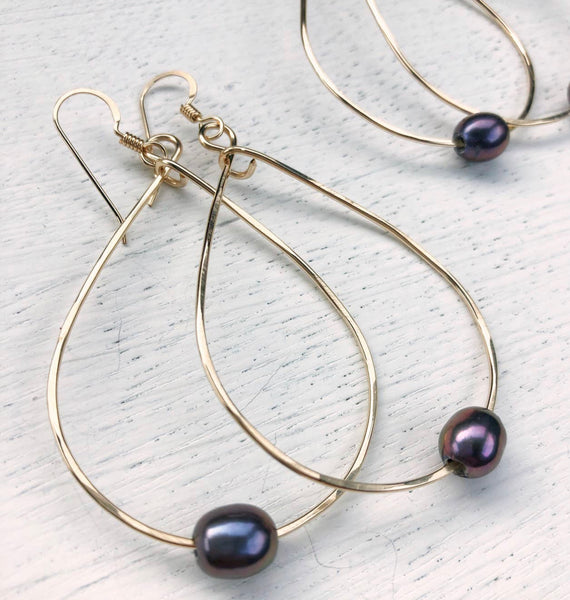 Peacock Grey Teardrop Hoops With Freshwater Pearl