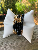 Faceted Onyx with Gold Filled Seamless Bead Bracelet