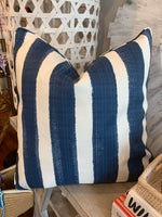 "22"" x 22"" Watercolor Navy Stripe Pillows, Set of two"