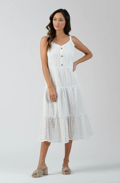 Tiered Button Front Dress- White