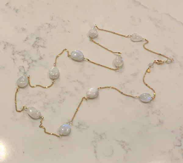 Moonstone long necklace on delicate 14ky Gold Chain
