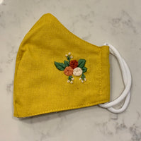 Yellow Hand embroidered Mask