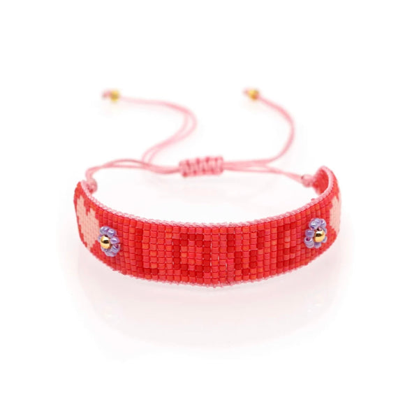 Bright Pink LOVE beaded adjustable bracelet