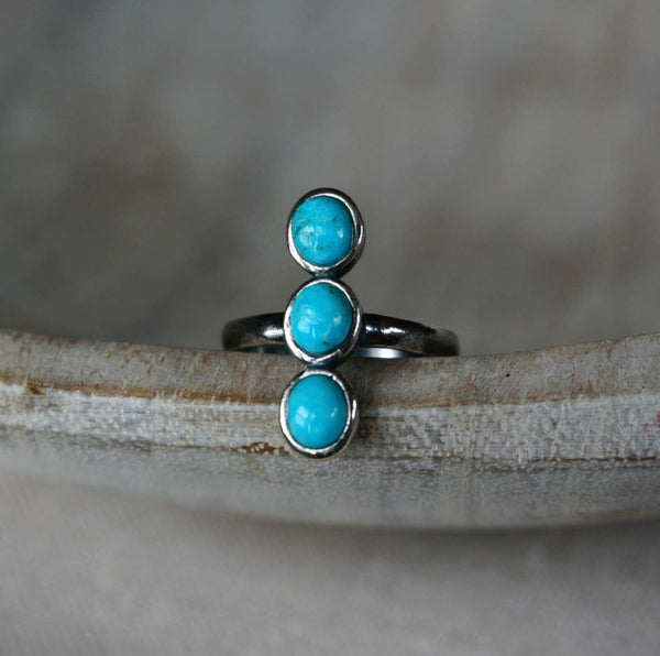 Three stone Turquoise Statement Ring, adjustable