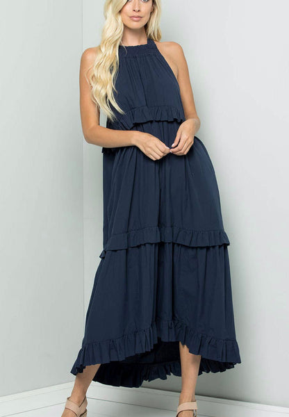 Navy Tiered Ruffle Woven Midi Dress