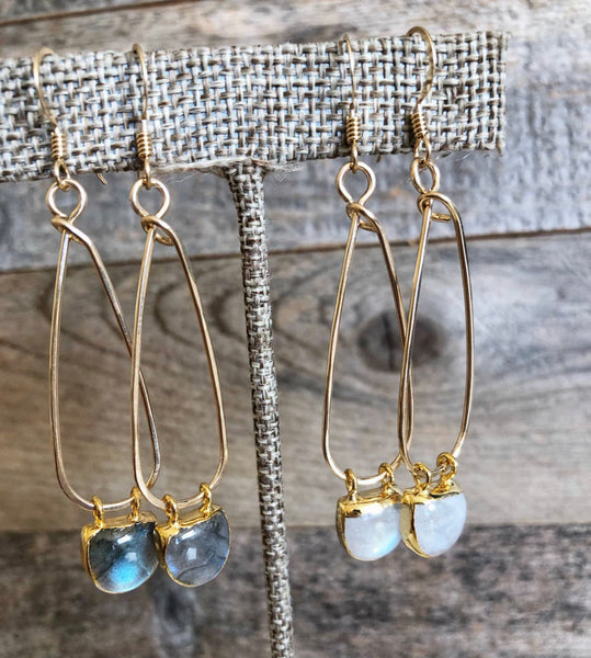 Gold Long Teardrop with Moonstone/Labradorite Half Moon