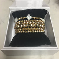 Gift Set: ALL SIZES w/ MOP clover Gold Filled Seamless Bead Bracelet
