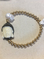 "Single ""Let that shit go"" Buddha Seamless Gold Filled Bead Bracelet"