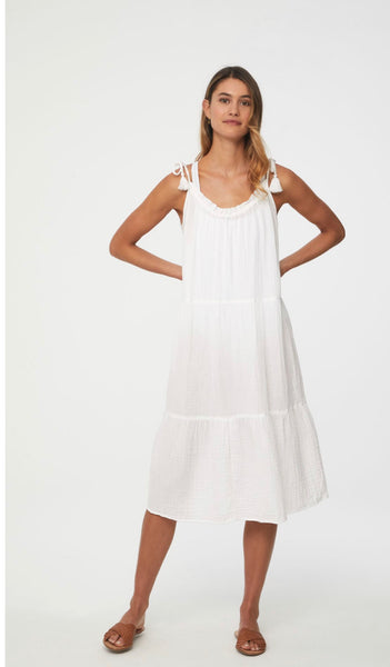 White Willa To the Knee Dress (in Nantucket)