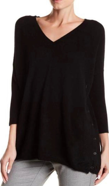 Button Down Cashmere Sweater in Black