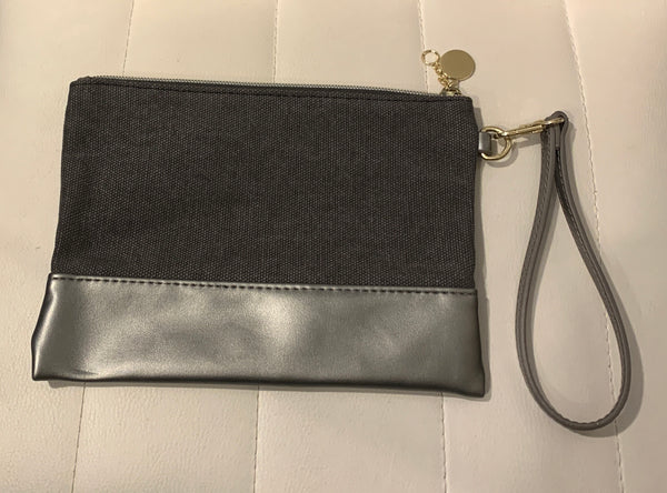 Grey Canvas and Leather Pouch