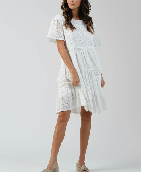 Short Tiered Eyelet Dress- white