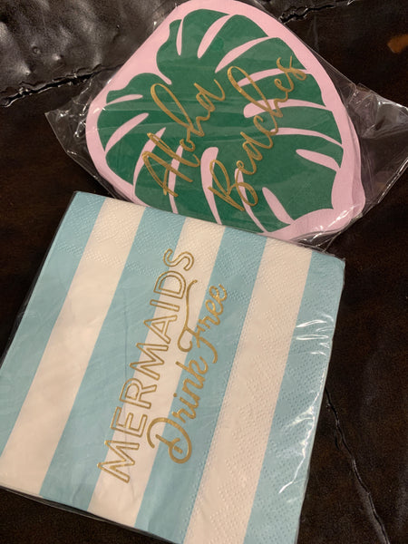 Mermaid and Palm Paper Napkins