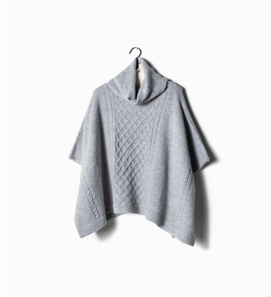 Gray Cable neck turtleneck poncho