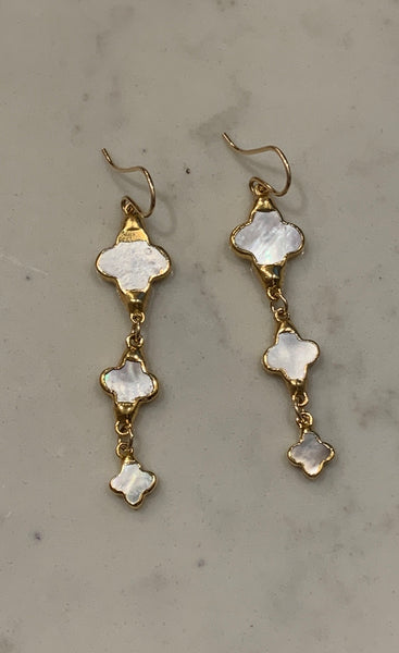 Triple Clover Mother of Pearl Earrings
