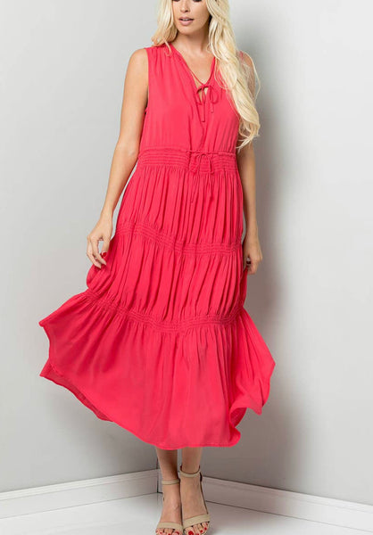 Flowy Woven Hot Pink Midi Dress