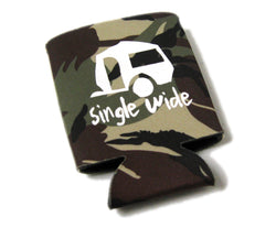 Single Wide Camo Beverage Koozie - White