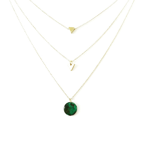 Ella Layer Chain + Stone Pendant Necklace