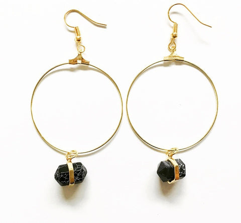 Keke Side Spike Stone Hoops