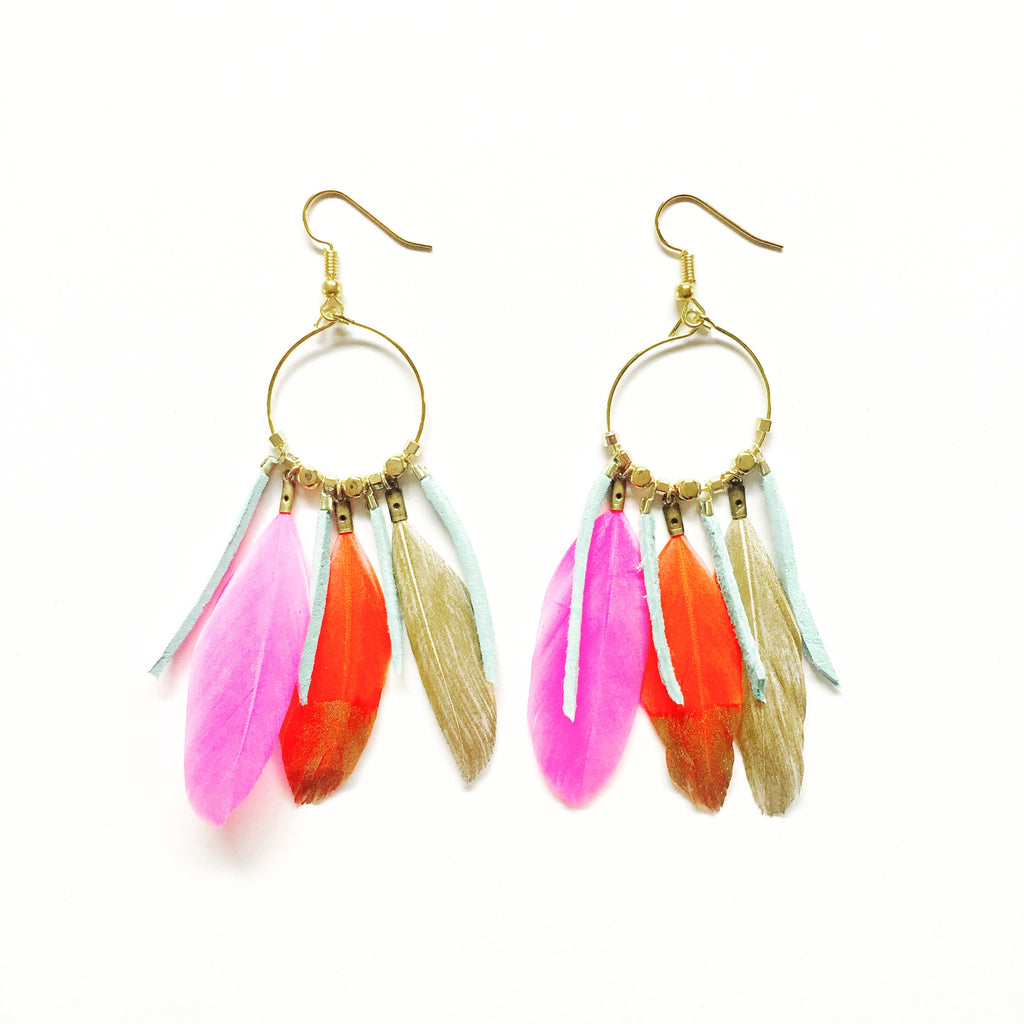Chief Mixed Gold Dipped Duck Feather Dangles