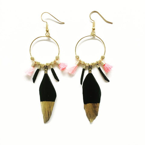 Maya Gold Dipped Duck Feather Dangles
